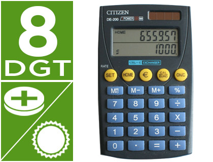 CALCULADORA CITIZEN BOLSILLO DE-200...