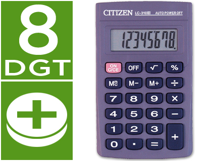 CALCULADORA CITIZEN BOLSILLO LC-310...