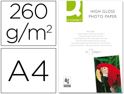 PAPEL Q-CONNECT FOTO GLOSSY DIN A4 ...