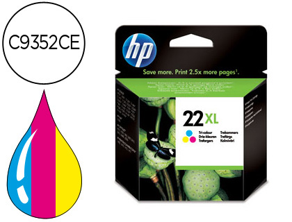 INK-JET HP 22XL TRICOLOR -440PAG- H...