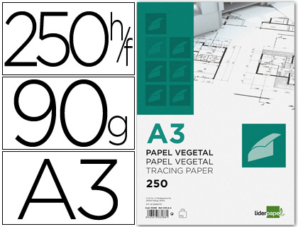 PAPEL DIBUJO LIDERPAPEL 297X420MM 9...